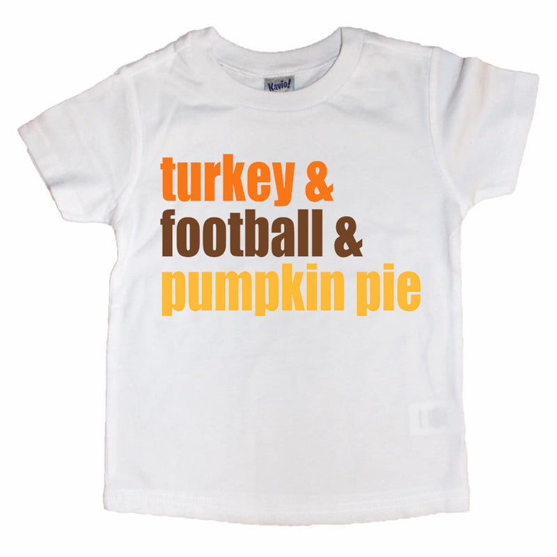 Turkey Football Pumpkin Pie Color - Kids Thanksgiving Tee