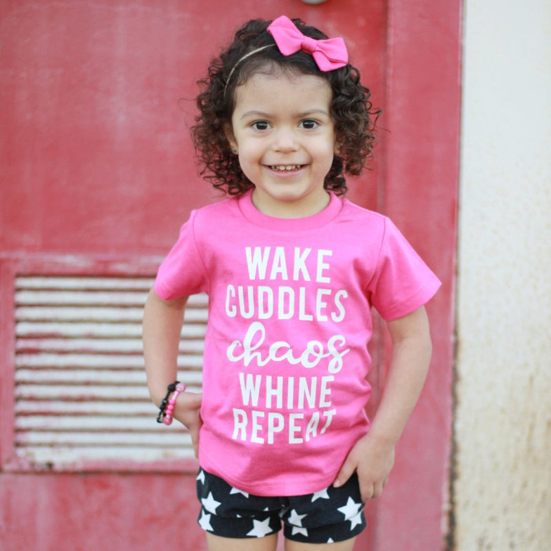 Wake Cuddles Chaos Whine Repeat- Kids Tee