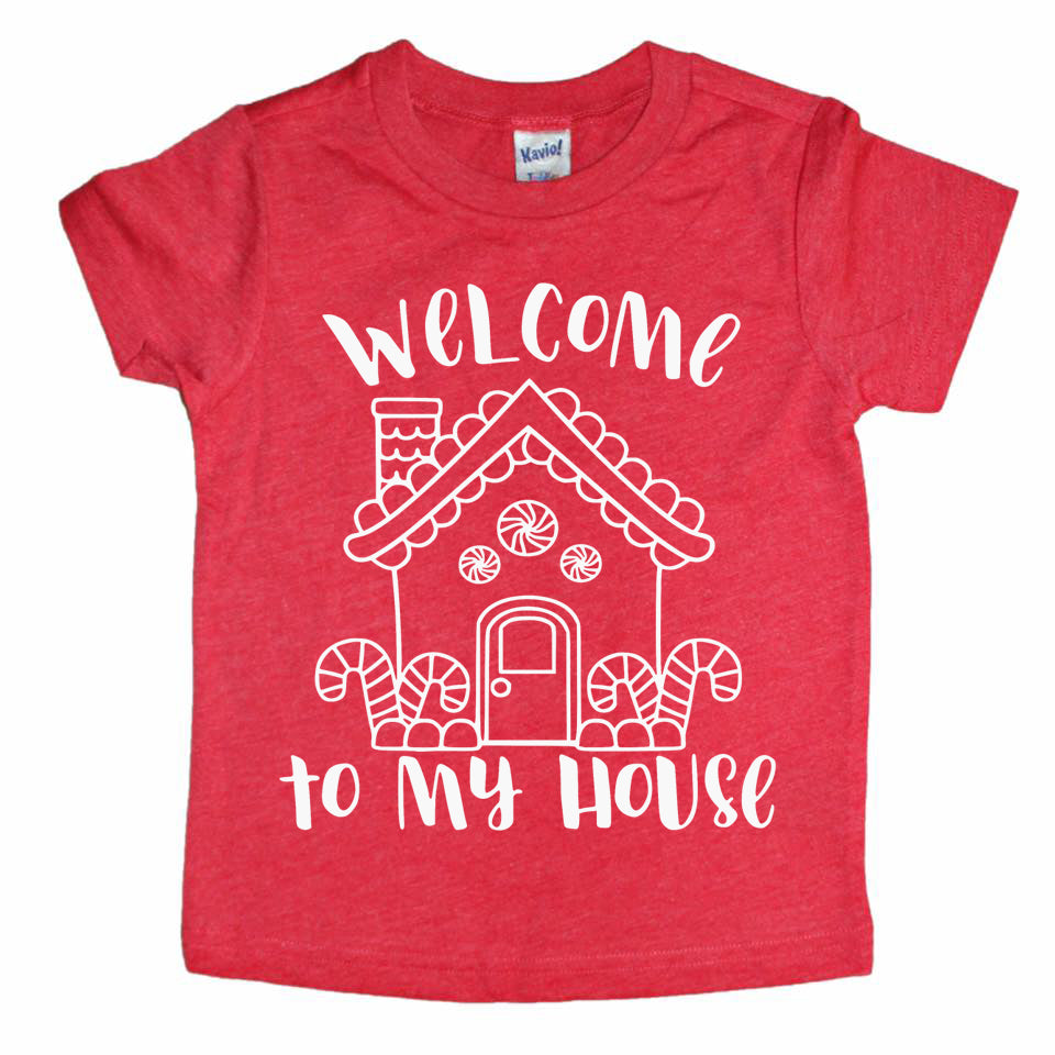 Welcome to my  House Gingerbread - Kids Holiday Tee