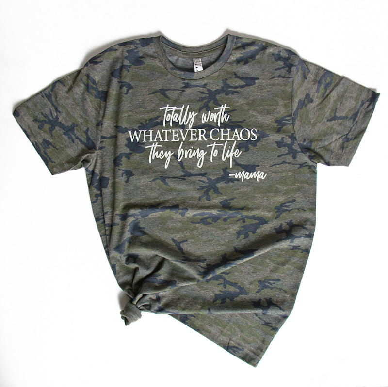 Totally Worth Whatever Chaos - Vintage Camo Unisex Tee