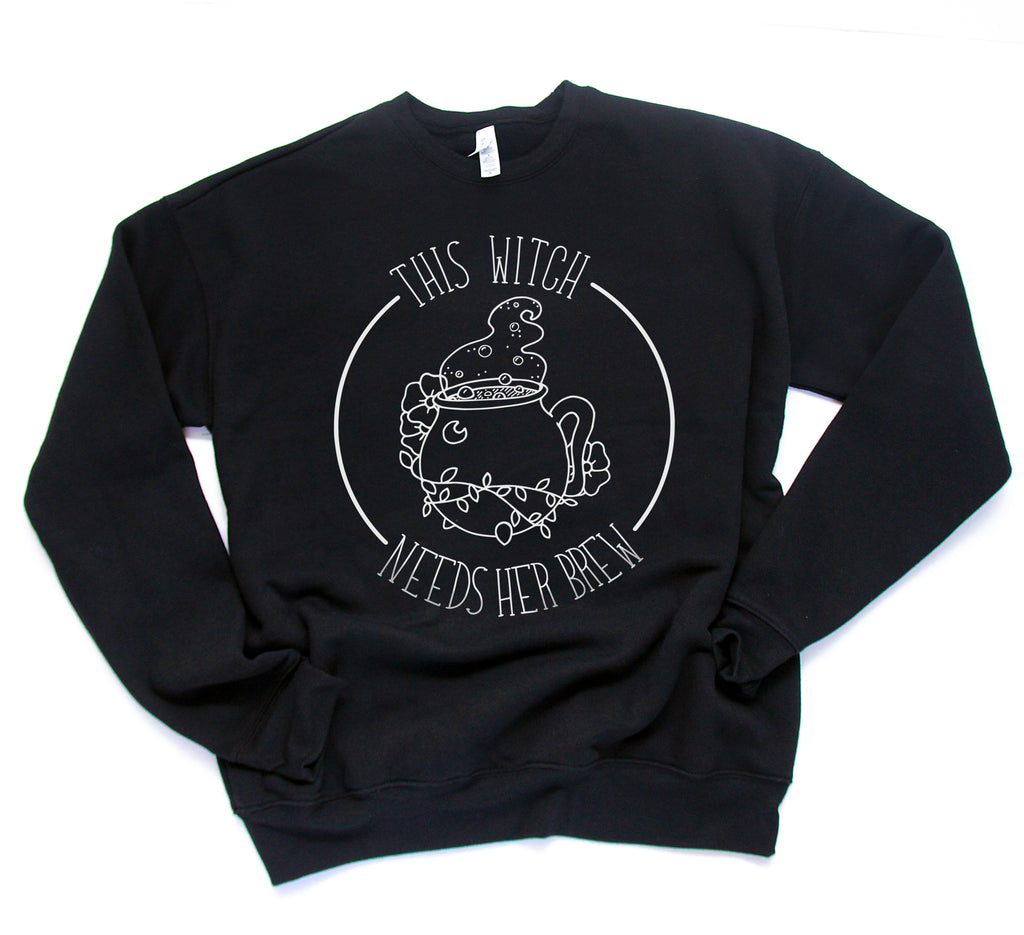 This Witch Needs Her Brew - Black Unisex Adult Fleece Pullover