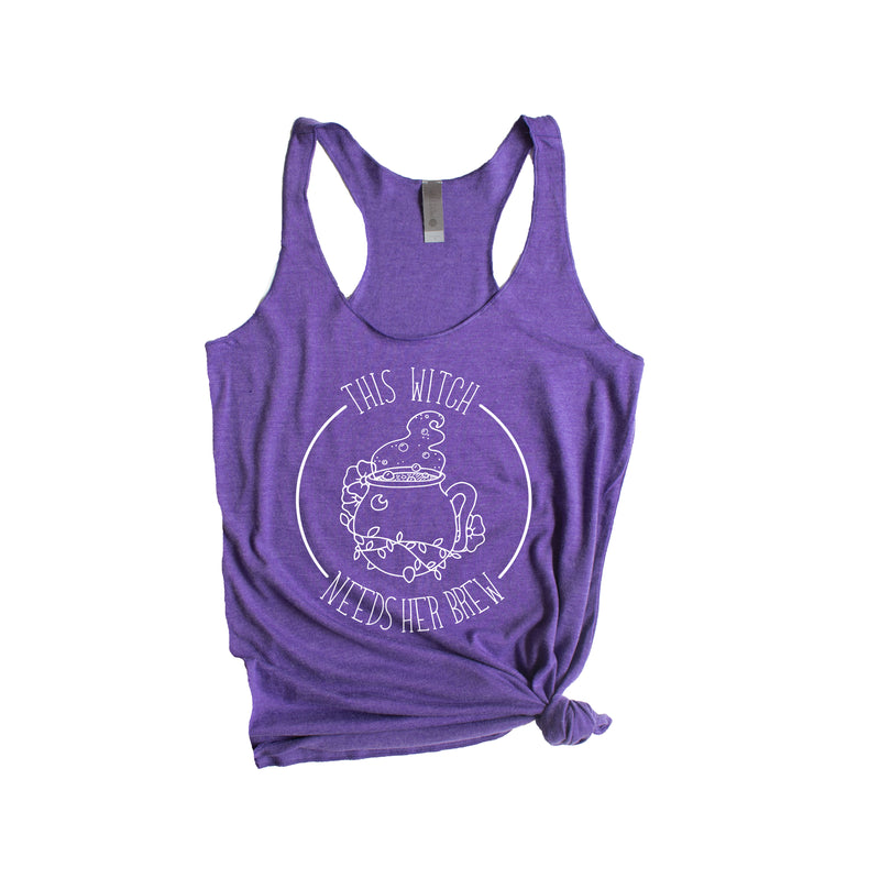 This Witch Needs Her Brew - Purple Women's Racerback Tank