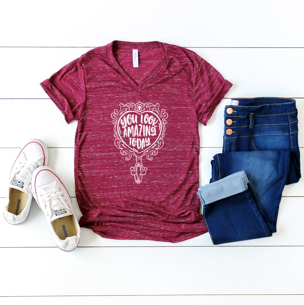 You Look Amazing Today - Maroon Marble Vneck Unisex Tee