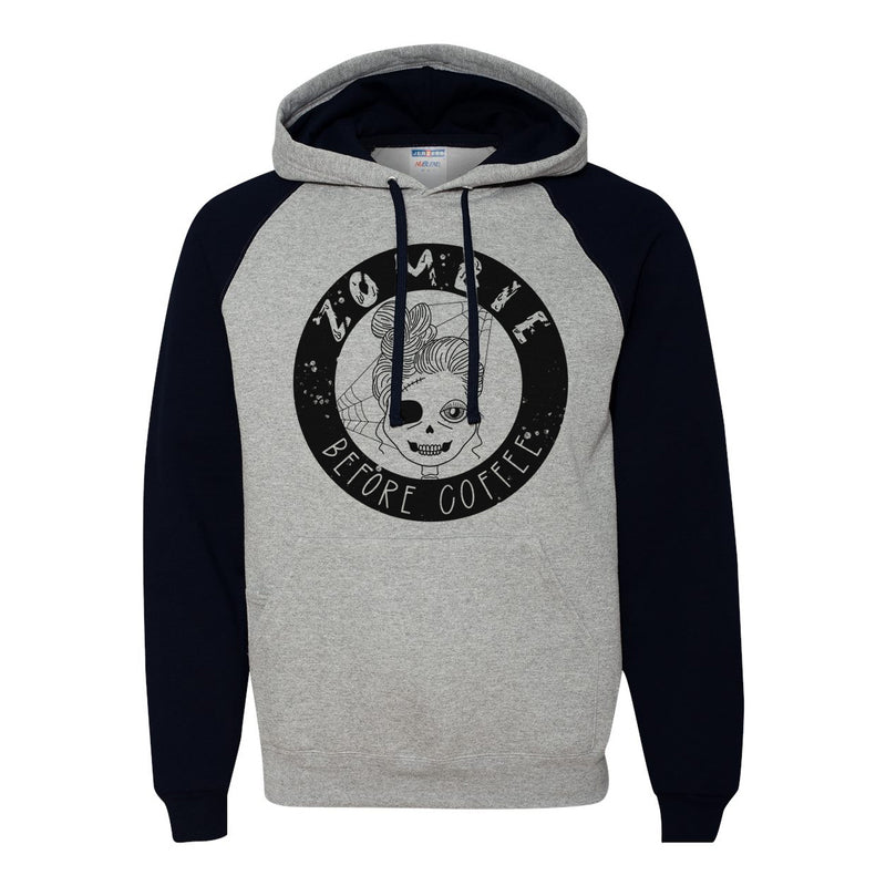 Zombie Before Coffee - Grey/Black Unisex Hoodie