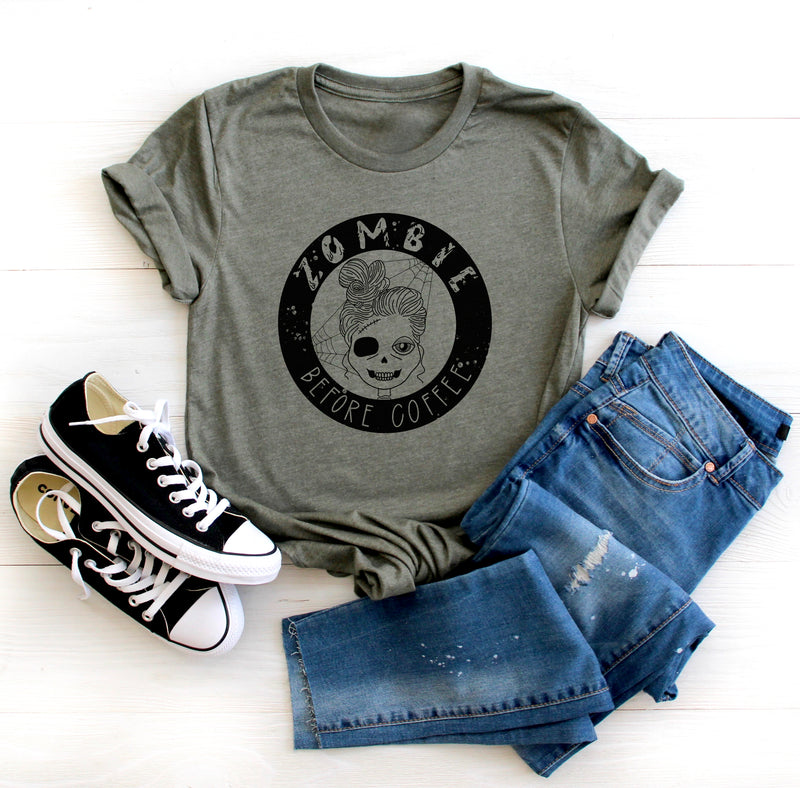 Zombie Before Coffee - Heather Military Green Unisex Tee