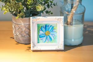 Blue Flower Framed Watercolor Painting