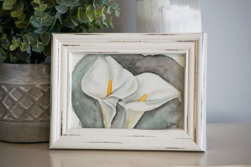 Calla Lilies Framed Watercolor Painting