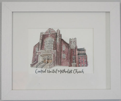 Central United Methodist Church Framed Watercolor Painting