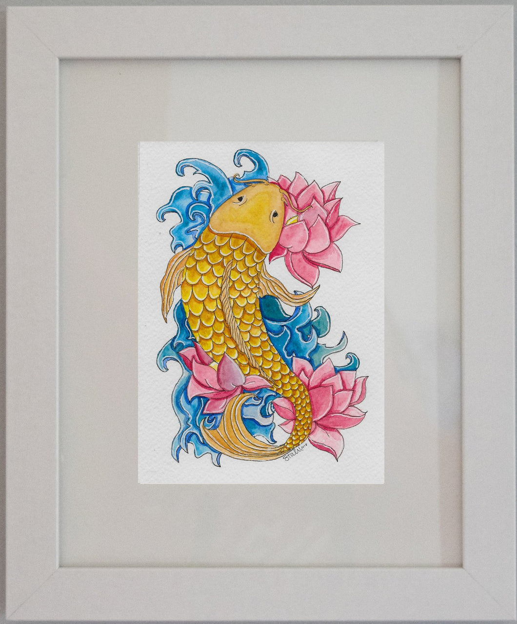 Koi I Framed Watercolor Painting