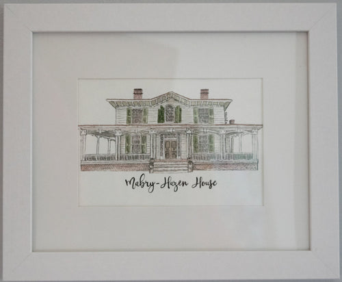 Mabry-Hazen House Framed Watercolor Painting