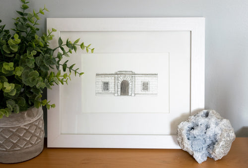Candoro Marble Building Framed Watercolor Painting