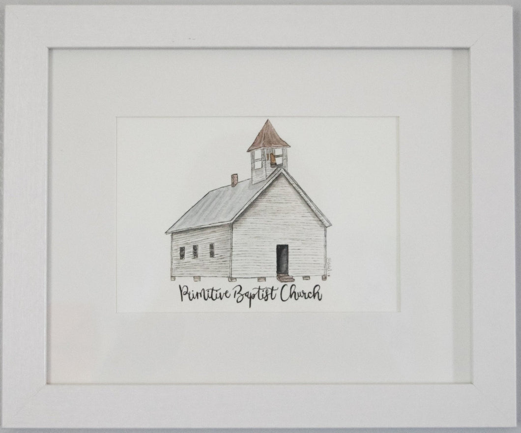Primitive Baptist Church Framed Watercolor Painting