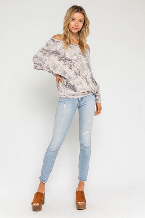 Blush Snake Off Shoulder Sweater