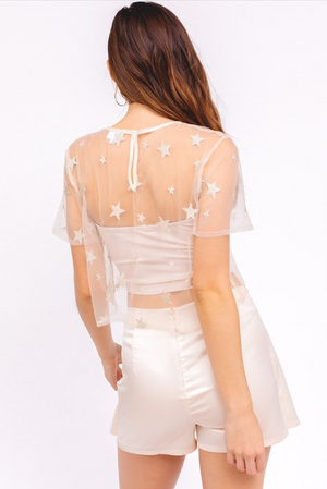 Stars in The City Mesh Crop Top