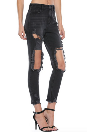 Wasted On You Distressed Black Jeans