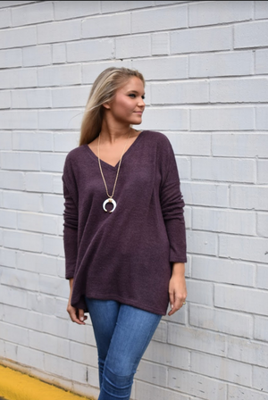 Dusty Purple Piko Sweater
