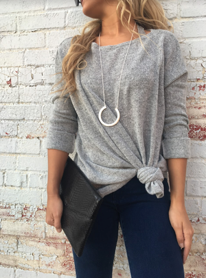 Light Grey Piko Sweater