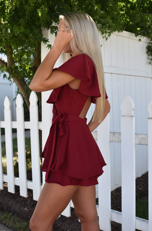 Meant to Be Romper - Merlot