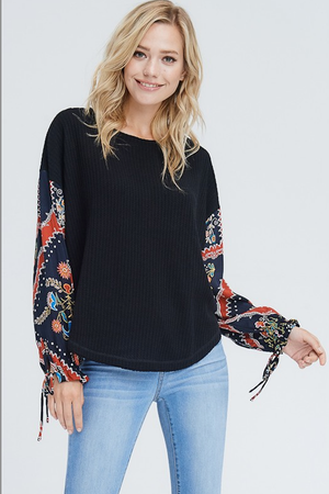 Most Wanted Waffle Knit Top - Black