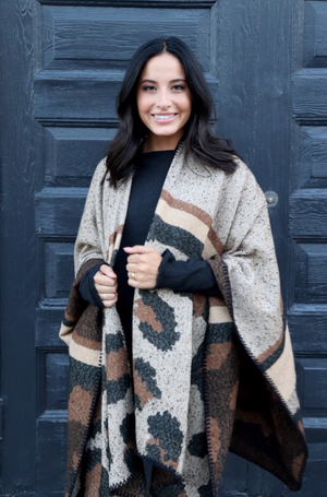 Reversible Cheetah Poncho