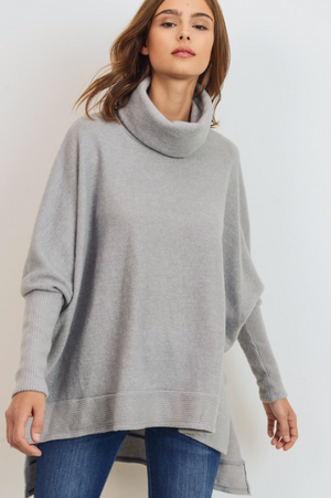 Cowl Neck Tunic- Light Grey
