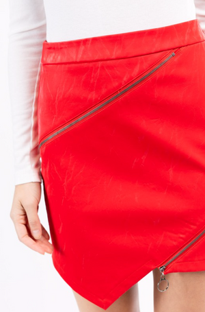 Asymmetrical Leather Skirt- Red