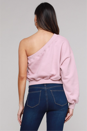 One Shoulder Sweatshirt Top- Mauve