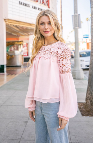 Making Me Blush Blouse- Blush Pink