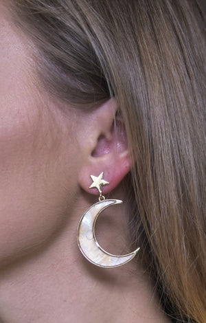 Star and Moon Shell Earrings