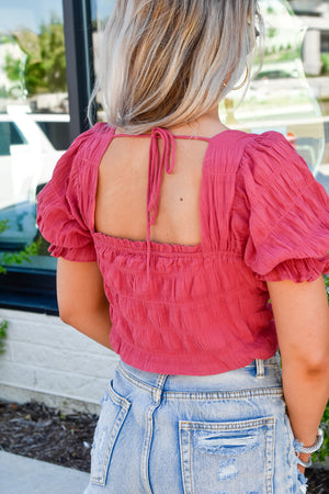 Adore You Puff Sleeve Top - Cranberry