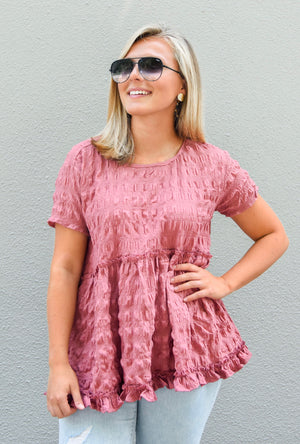 The Bailey Babydoll Top- Marsala