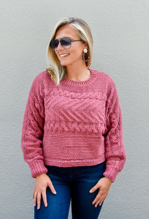 The Wendy Cropped Sweater- Marsala