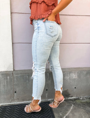 Tobi Distressed High Rise Jeans