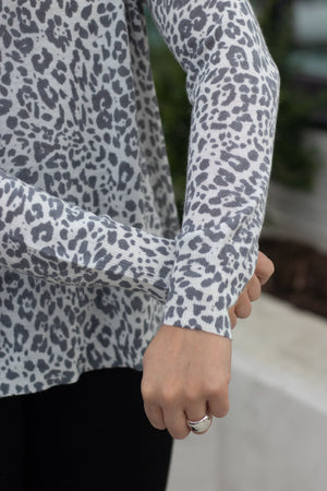 Unzipped Leopard Sweater-  Dark Grey