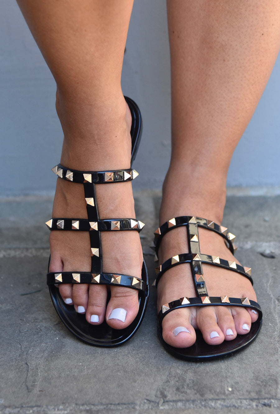 Regan Studded Sandals - Black
