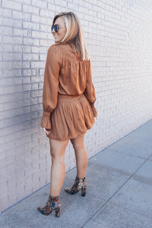 Smocked Dress- Camel