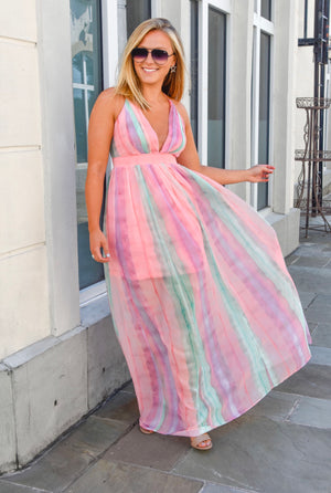 The Ellie Maxi Dress-Pink Mix