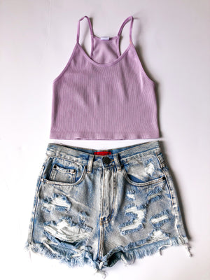 Easy Goin Crop Top -Lavender