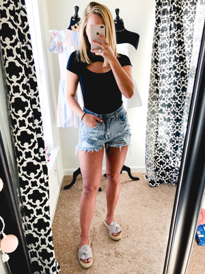 I Don't Mind Distressed Denim Shorts