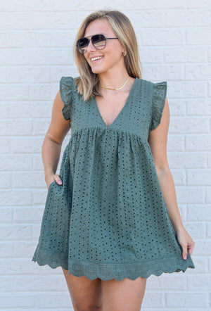 Wide Open Spaces Romper Dress- Olive