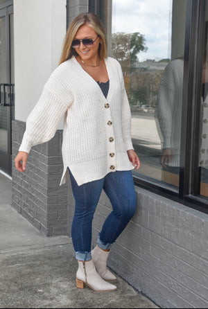 The Fireside Button Up Cardigan- Cream