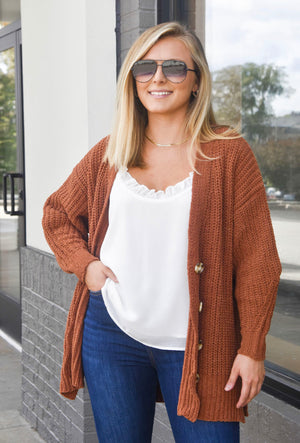 The Fireside Button Up Cardigan- Camel