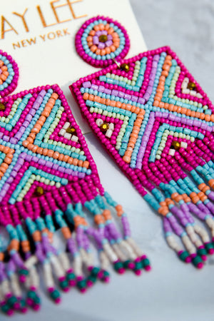 Multi color statement earrings