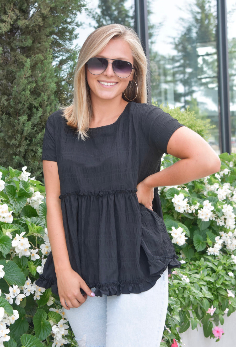 The Bailey Babydoll Top- Black