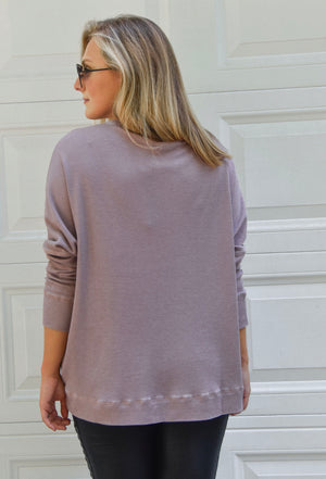 Mauve Waffle Knit Pullover