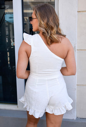 The Greer Ruffle Romper- White
