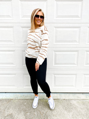 The Katie Sweater- Neutral Zebra