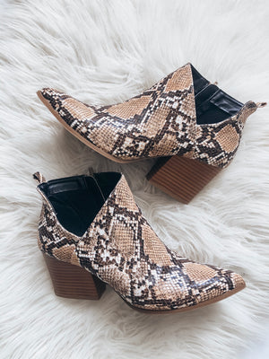 Nava Booties - Brown Snake
