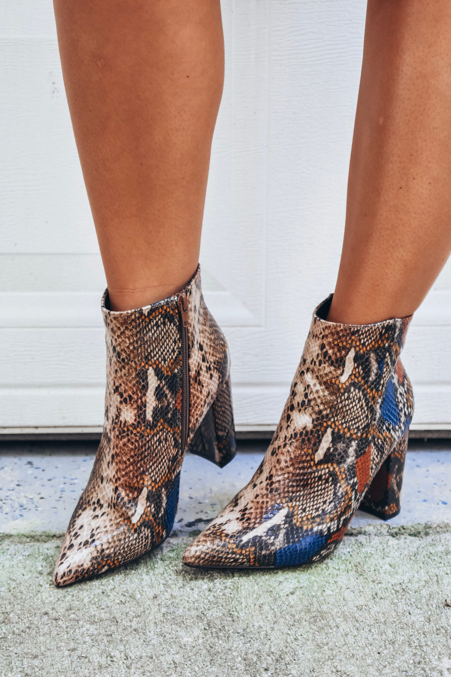 Bellflower Snake Print Booties- Tan Snake