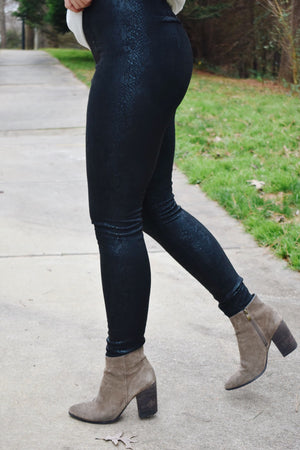 Sandy Snakeskin Suede Leggings
